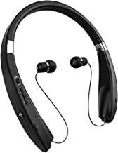Bluetooth Headset, GRDE Bluetooth Headphones Wireless Stereo Neckband Foldable Sport Earbuds with Mic and Retractable Bluetooth Earbuds Earphones for iPhone X/8/7 Plus Samsung Galaxy S7 S8 S9 and and