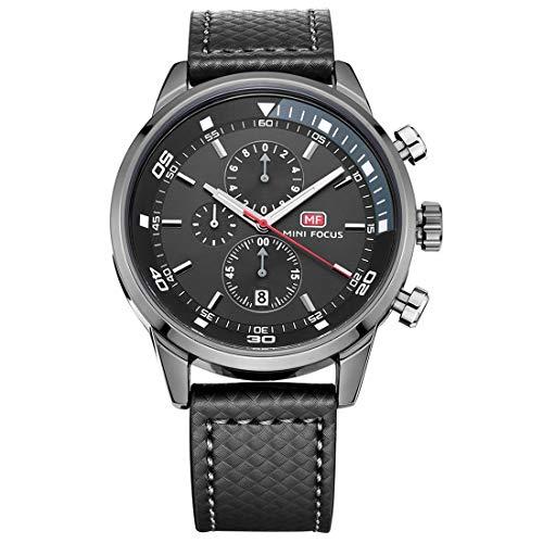 Mini Focus Herren Multifunktions wasserdichte Leuchtzeiger Quarz Sport Militär Armbanduhr mit Lederband Automatik Kalender Grau