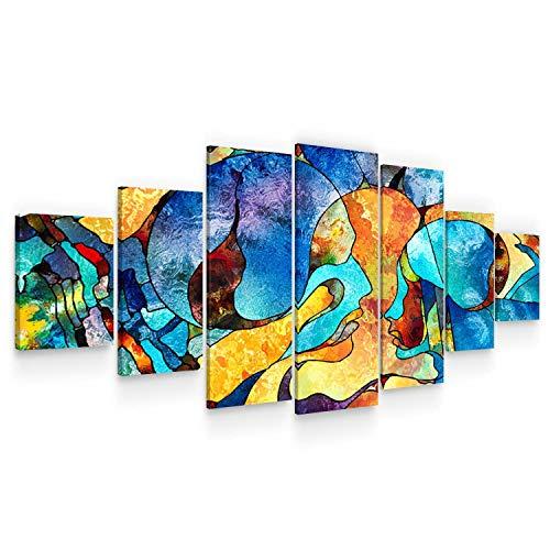 Startonight Grande Cuadro Moderno en Lienzo - Beso Mágico en la Eternidad del Amor - Pintura Abstracta para Salon xxl Decoración 7 Piezas 100 x 240 CM