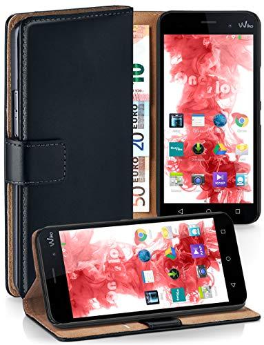 MoEx Premium Book-Hülle Handytasche kompatibel mit Wiko Lenny 3 | Handyhülle mit Kartenfach & Ständer - 360 Grad Schutz Handy Tasche, Schwarz