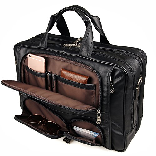 Augus Leather Briefcase Business Travel Genuine Leather Duffel Bags for Men Laptop Bag fits 15.6 inches Laptop With YKK Zipper