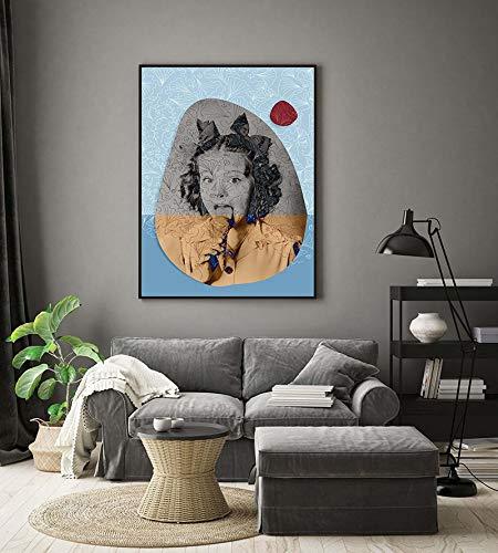Heladera, carteles retro, collages modernos, murales minimalistas, carteles azules de mediados de siglo, cuadros decorativos sin marco en el salón A75 40x60cm