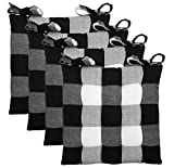 COTTON CRAFT - Set of 4 - Buffalo Check Chairpad -Black - 17x17 Inches- Dining Chair Pad Cushion with Ties- Classic Design- Easy Fit to Chair