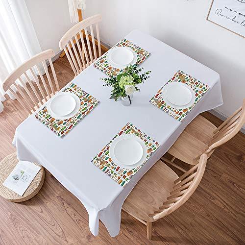Juego de 4 Salvamanteles Individuales,Doodle, varios elementos interiores del hogar Sillón Mesa Espejo Elementos d,Lavables Resistentes al Calor y Antideslizantes Para Mesa de Cocina, Fácil de Limpiar