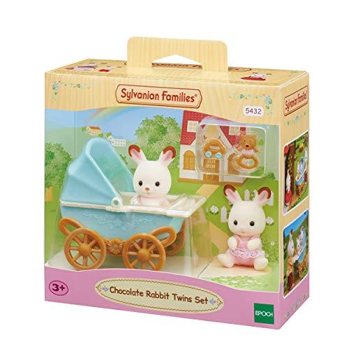 Sylvanian Families 5432 Schokoladenhasen Zwillinge mit Kinderwagen - Puppenhaus Spielset