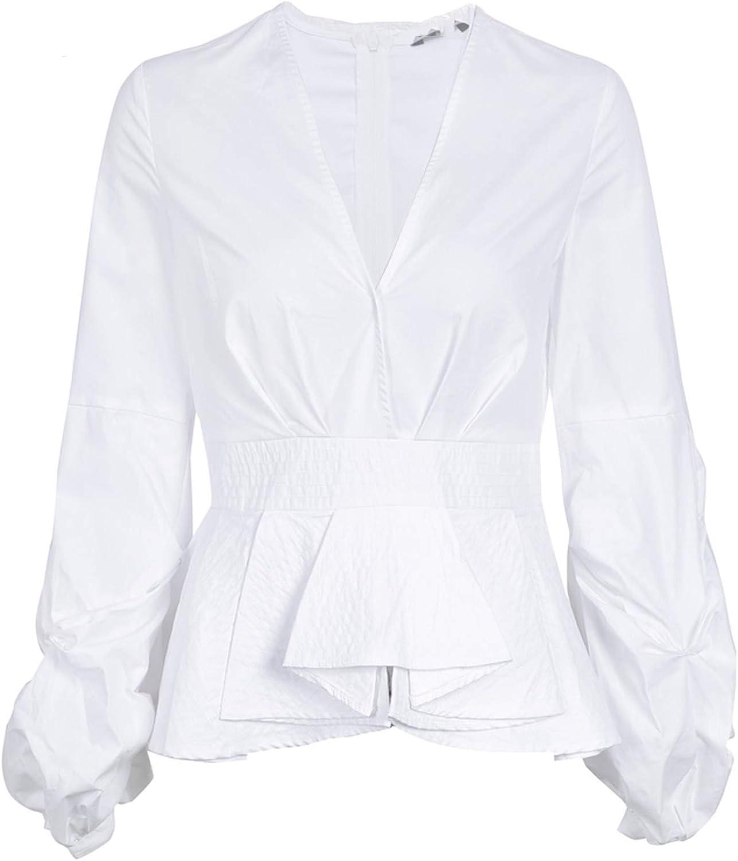 Eud12s Ruffle v Neck Stripe Blouse Shirt Women Tops Streetwear White Blouse Elegant Cotton Blouse Female