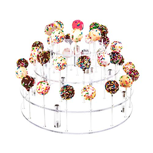 YestBuy Cake Pop Display Stand, 36 Hole Cake Pop Holder, Lollipop Holder for Weddings, Birthday Parties, Anniversaries Gift, Halloween, Christmas Candy Decorative (Clear)