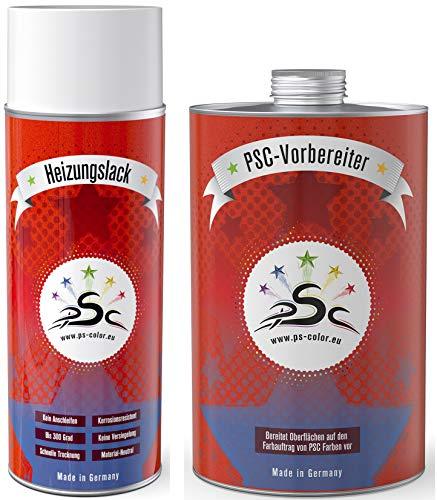 Set 1: 400 ml de Pintura para radiadores en espray, Blanco señal RAL 9003 y 1000 ml de Limpiador de Metal.