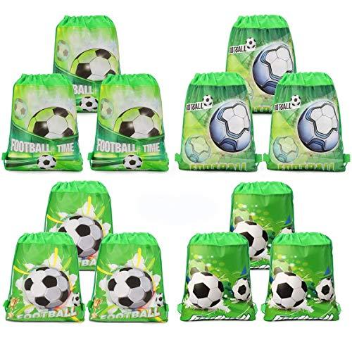 INTVN 12 Piezas Bolsas con cordón de fútbol Bolsa Regalo Cumpleaños Escolar Bolsas Tela no Tejida para niños Regalo Fiestas Infantiles fútbol cumpleaños de niños