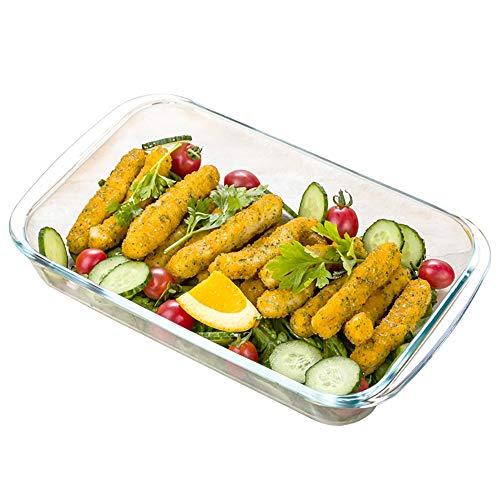 Vobajf Plato para Hornear Asador óptima de Cristal de Alta Resistencia Agarre fácil 1L / 1.5L / 2L, 3 for el hogar Platos de lasaña (Color : Glass Baking Dish, Size : Free Size)
