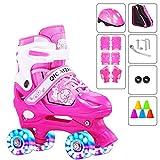 YUANYI Patines Ajustables Niña Principiantes Niños Niñas Flash Ruedas Dobles Zapatos De Patinaje Juego 2-18 Años De Edad,Pink2-M