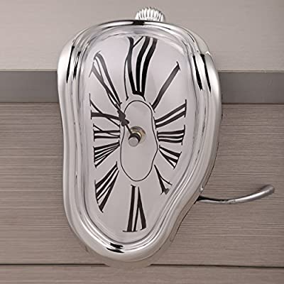 Chinatera Novelty Creative Modern Melting Clock Melted Illusion Warp Clock -Sits on Shelf to Create Illusion of a Timepiece Melting Down Home/Room Decor