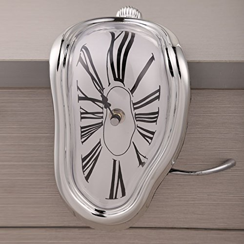 Chinatera Novelty Creative Modern Melting Clock Melted Illusion Warp Clock -Sits on Shelf to Create Illusion of a Timepiece Melting Down Home/Room Decor (Silver) by Chinatera