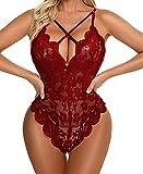 NINALUNA Mameluco sexy transparente para mujer, escote profundo sin espalda con encaje dobladillo, rojo vino, XXL