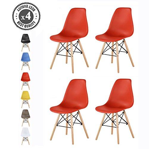 MCC Retro Design Stühle LIA Esszimmerstühle im 4er Set, Eiffelturm inspirierter Style für Küche, Büro, Lounge, Konferenzzimmer etc, 6 Farben, Kult (Rot)