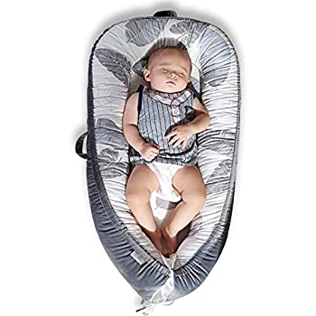 Mamibaby Baby Lounger Baby Nest Co-Sleeping for Baby Ultra Soft & Breathable Fiberfill Portable Adjustable Newborn Lounger Crib Bassinet | Newborn Shower Gift Essential  Leaves Pattern