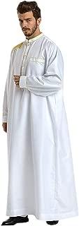 Sunyastor Mens Dress Kaftan Ethnic Robes Loose Men Robes Long Sleeve Loose Islamic Muslim Vintage Dress Thobe Costume S-3XL