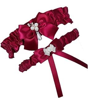 2019 Handmade Rhinstones Lace Wedding Garters for Bride Garter Set 2 Pcs