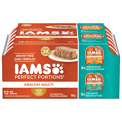 Iams Iams Perfect Portions Grain Free Adult Wet Cat Food Pate Chicken Recipe & Tuna Recipe Variety Pack, (12) 1.32 Oz. Twin Pack Trays, 12count (pack Of 12)