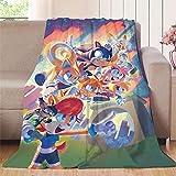 Elliot Dorothy el erizo Sonic aventura película de dibujos animados de anime de color cómico manta de bebé sofá o cama en todas las estaciones, microfibra, colorido, 70'x90'(W178cmxL228cm)