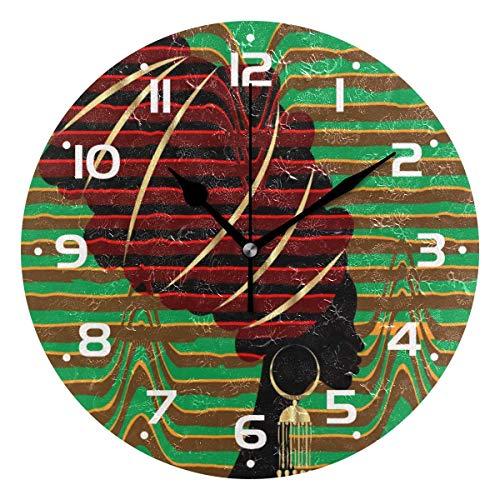 Reloj de Pared Americano para Mujer, analógico de Cuarzo, silencioso, Redondo, Reloj de Escritorio, Funciona con Pilas, fácil de Leer, Decorativo para Cocina, Dormitorio, baño, Sala de Estar, Aula