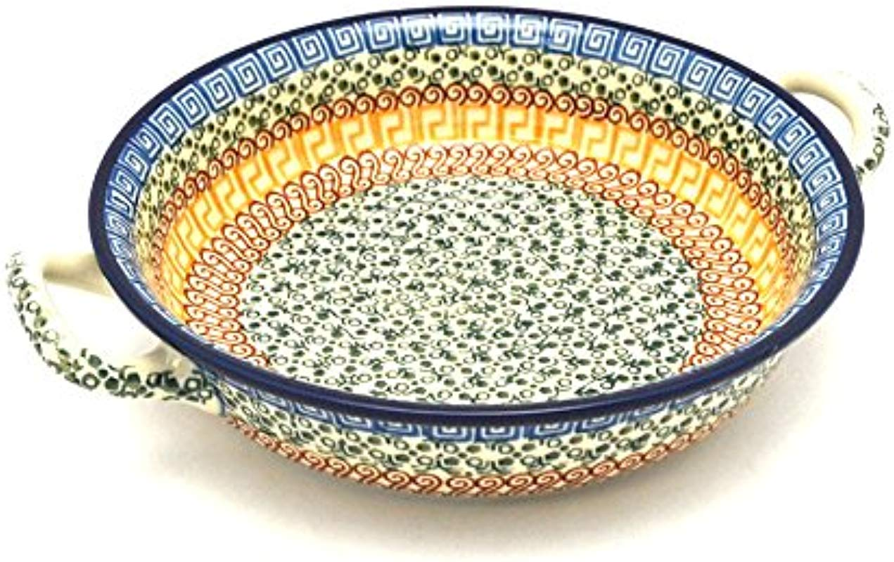 Polish Pottery Baker Round With Handles Medium Autumn