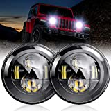 nifeida Pair 7' Round Black Cree Led Headlights Compatible with Jeep Wrangler JK TJ LJ CJ 97-18, Hi/Lo Beam with Amber White DRL and Halo Semicircle Angel Eyes Compatible with Hummer H1 H2 Motorcycle
