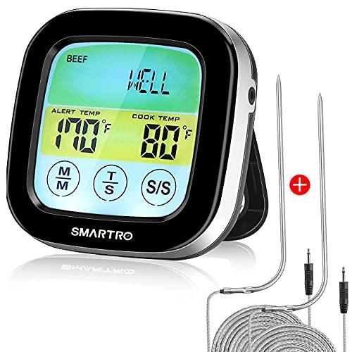 SMARTRO ST59 Digitales Fleischthermometer für Backofen BBQ Grill Küche Kochen von Speisen mit 2 Sonden und Timer