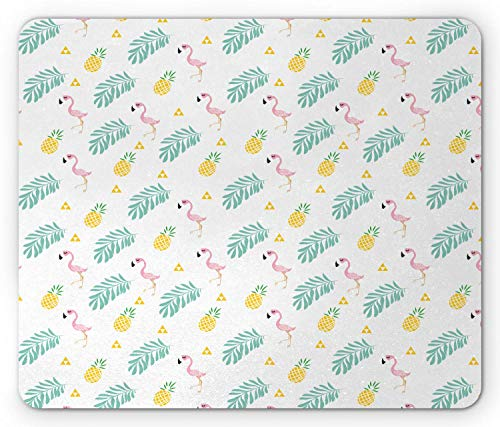 Mausmatte,Spiel Mauspad,Tropical Mouse Pad,Flamingo Birds Tropical Ananas Und Blätter Hawaiian Hipster In Pastelltönen,Matte Mäuse Mousepad Gaming Mouse Pads Für Büro & Zuhause,Pink Senf