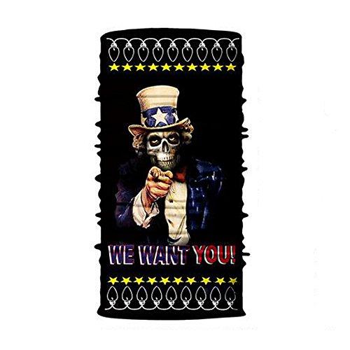 WasonD Sports et Loisirs Tour de Cou Buff Bandana Multifonctionnelle Écharpe Élastique Magique Bande et Contre Le Soleil Résistants UV pour Camping Équitation - Oncle Sam