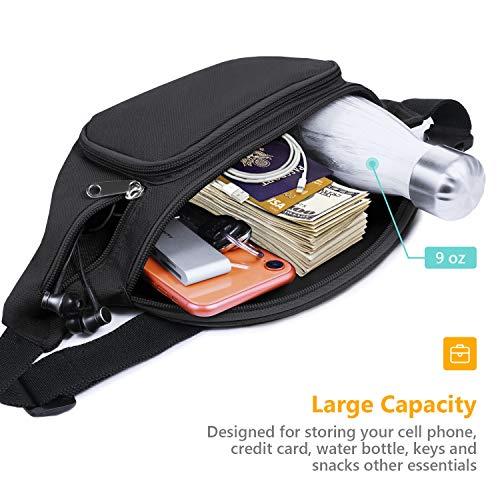 SAVFY Bum Waist Bag 4 Zip Pockets Travel Hiking Outdoor Sport Bum Bag Holiday Money Hip Pouch(Black)