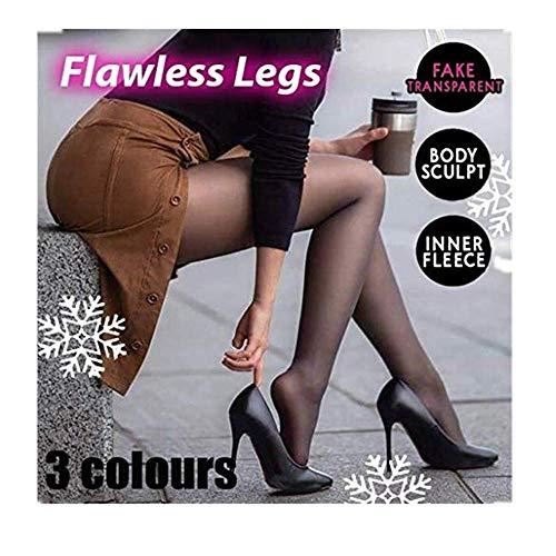 Dasongff Damen Thermo Strumpfhosen Perfect Legs Fake Translucent Warm Fleece Tights Beine Gefälschte Durchscheinende Fleece-Strumpfhose Slim Stretchy Thick Slimmer and Warm Pantyhose (220g, Schwarz)