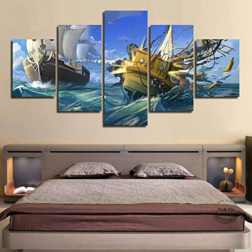YJLucky Lienzo 5 Piezas Barco De Vela Arte De La Pared De Fondo Pintura De Poliéster para La Decoración del Hogar Regard200Cmx100Cm