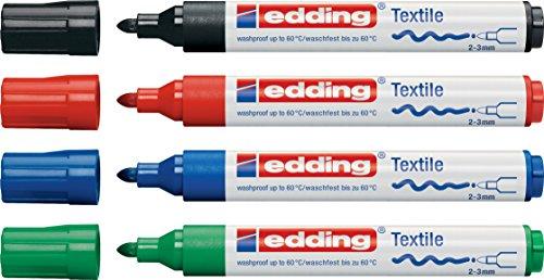 edding 4500 Textil-Marker (Grundfarben / 4er Set)