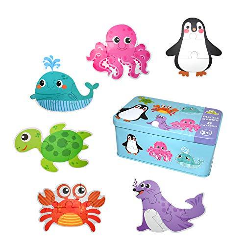 EKKONG Puzzles de Madera ,Animales Rompecabezas ,Juguetes Bebes, Puzzles de Madera Educativos para Bebé, Juguetes niños 1 año 2 3 4 5 6 años