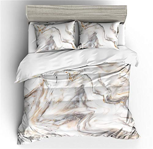 BLZQA Bedding Duvet Cover Set superfine fiber Marble printing94.4 x 86.6 inches With zipper closure duvet cover Easy Care Anti-Allergic Soft & Smooth with Pillow Cases (Double)