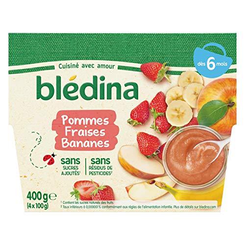 Blédina 4 Coupelles Pommes Fraises Bananes dès 6 mois (4x100g) - Pack de 12