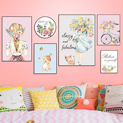 Muurstickers Persoonlijkheid Creatieve Woonkamer muur Zelfklevende Decoratie Romantisch Meisje met kat fotolijst