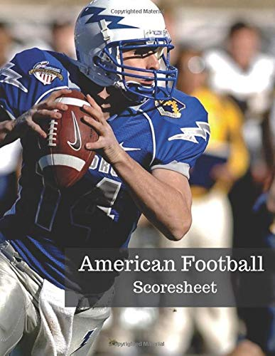 American Football Scoresheet: Rugby Sport League Score Sheet for True Fan, Player and Team Performance Logbook Scoreboard, Large Print 8.5
