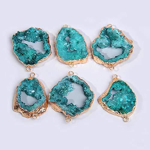 Nickey La curación de Cristal de Cuarzo Hadas Azul Colgantes de Piedra Natural de Cuarzo Conector Oro Gota Colgante de Regalo de Las Mujeres druzy joyería Collar a Granel de Bricolaje Joya