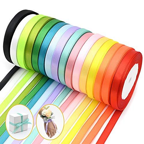 16 Pack Nastro Colorato Glitter Fiocco 10mm Colore Misto Nastro Raso,Uso Per Bomboniere Regalo Matrimonio Confezione Regalo Bomboniere Natale Decorazioni
