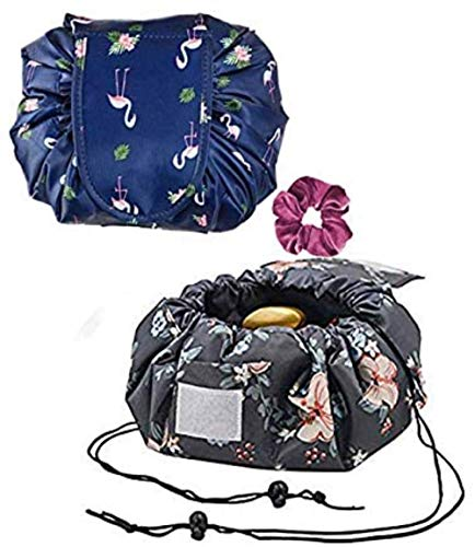 Sgualie Lazy Drawstring Make up Bag Portable Grand Travel Cosmetic Bag, Grey Flower & amp; Dark Blue