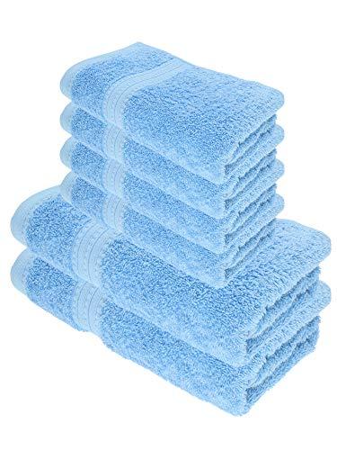 Julie Julsen Juego de toallas de ducha (6 piezas, 2 toallas de ducha, 4 toallas de mano, 100% algodón, 550 g/m²), color azul