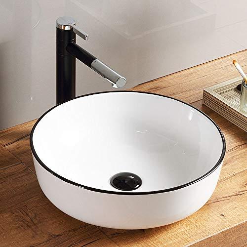 HomeLava Runde Keramik Aufsatzwaschbecken Weiß Körper Schwarz Randstreifen mit Ventil Ablauf Bad Gäste WC(ohne Wasserhahn)