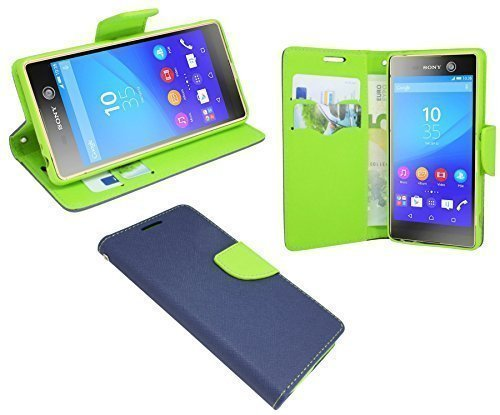 ENERGMiX Buchtasche kompatibel mit Sony Xperia M5 Dual SIM (E5663) // Hülle Case Tasche Wallet BookStyle mit Standfunktion in Blau-Grün (2-Farbig