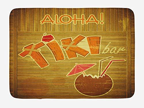 FANCYDAY Tiki Bar Badmat, Houten Planken op Muur met gestileerde Tiki Bar Tekst Cocktail Hibiscus Aloha, Pluche Badkamer Decor Mat, Bruin Oranje