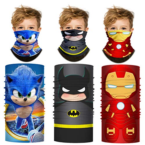Kids Cooling Neck Gaiter Superhero Face Covering Summer Bandana for Children (3PCS Hero B, Kids)