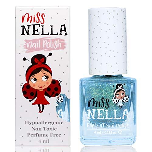 Miss Nella NEU magische Sammlung BIBBIDI BOBBIDI BOO- Spezieller silberner Glitzer Nagellack für Kinder, Peel-Off-Formel, wasserbasiert und geruchsneutral