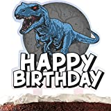Dinosaur Cake Topper Happy Birthday Scary Dino Jungle Jurassic Theme Acrylic Decor Picks for Baby Shower Birthday Party Decorations Supplies