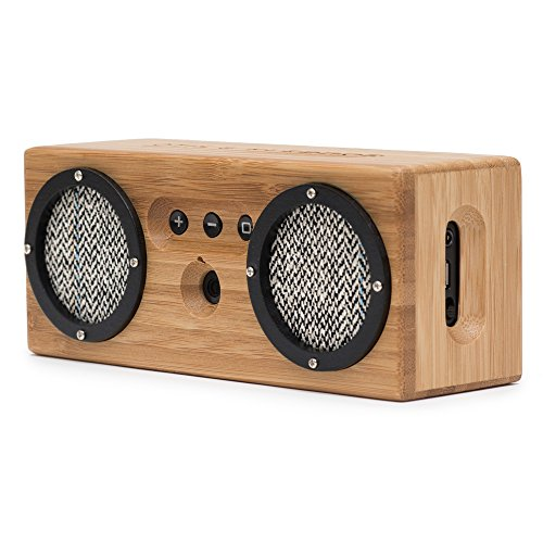 Bongo Bamboo Bluetooth Speaker - Portable & Wireless Retro Wood Design - Vintage Black & White
